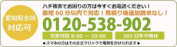 京都府蜂駆除・巣の撤去電話お問い合わせ「0120-538-902」